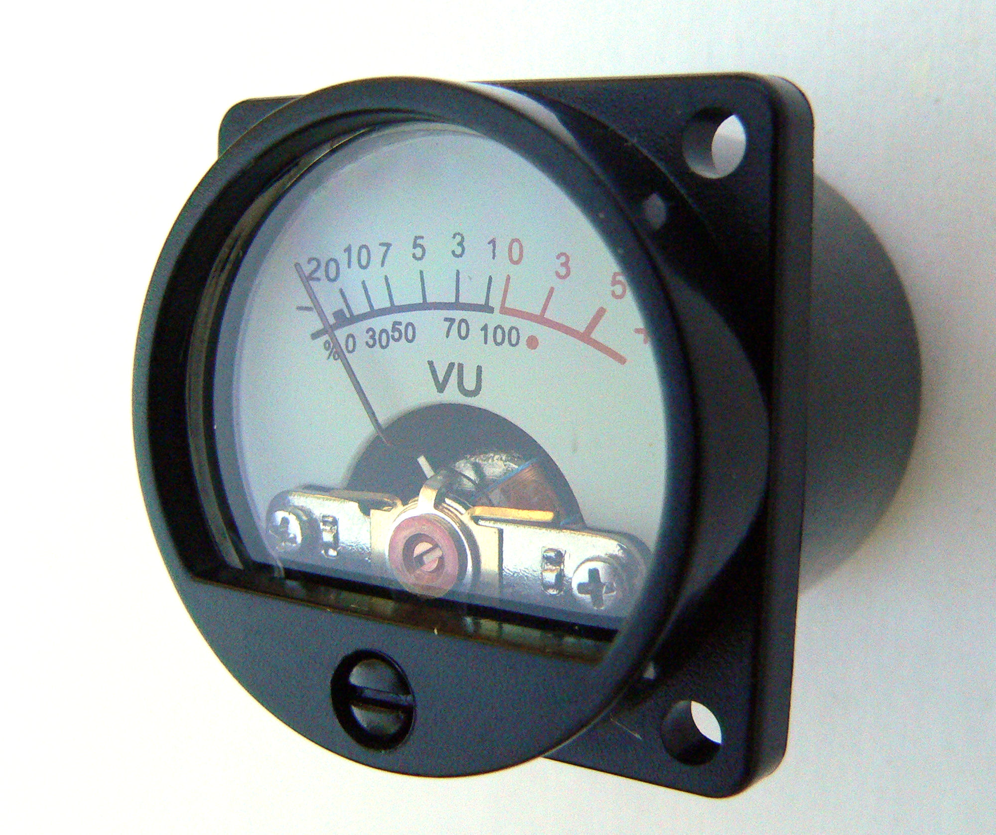 Illuminated Mini Vu Meter For Valve Amplifiers El34 6l6 Preamps Back 3 Supplied Singly Requires 34mm Panel Cutout Four 3mm Fixing Holes On A Square With Approx 27mm Sides Depth Behind Required Minimum 28mm